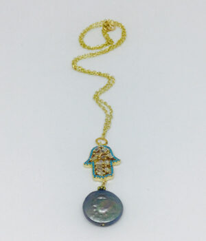Crystal Hamsa & Button Pearl Necklace - ByLaShanJewelry.com