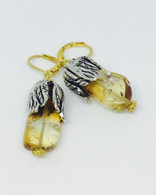 Citrine Leaf Drop Earrings - ByLaShanJewelry.com