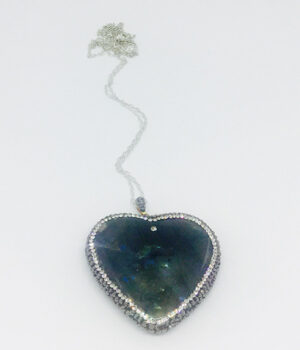 Crystal Encrusted Labradorite Heart Necklace - ByLaShanJewelry.com