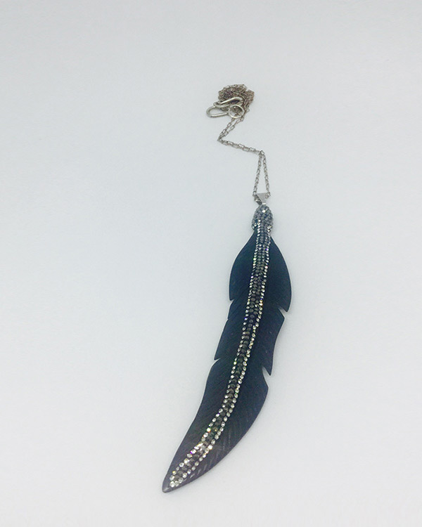 Crystal & Resin Feather Necklace - ByLaShanJewelry.com