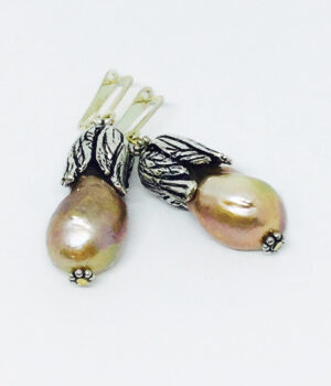 Pink Freshwater Pearl Leaf Drop Earrings - ByLaShanJewelry.com