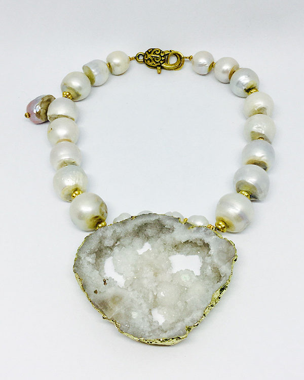 Large White Biwa Pearl With Druzzi Crystal Pendant Necklace - ByLaShanJewelry.com