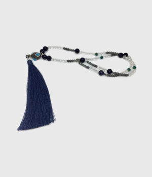 Long Blue Stone & Crystal Tassel Necklace - ByLaShanJewelry.com