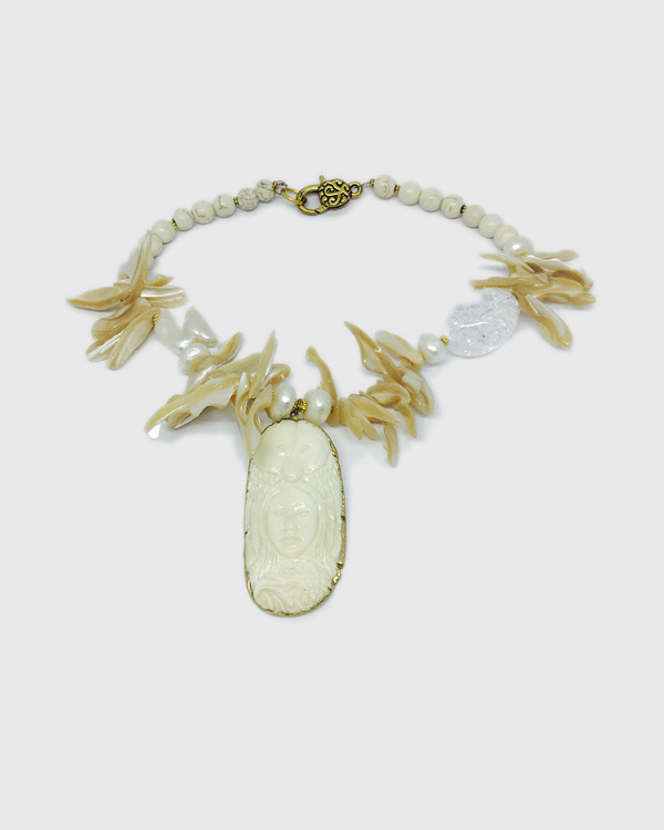 Carved Bone Mother-Of-Pearl Owl Necklace - ByLaShanJewelry.com