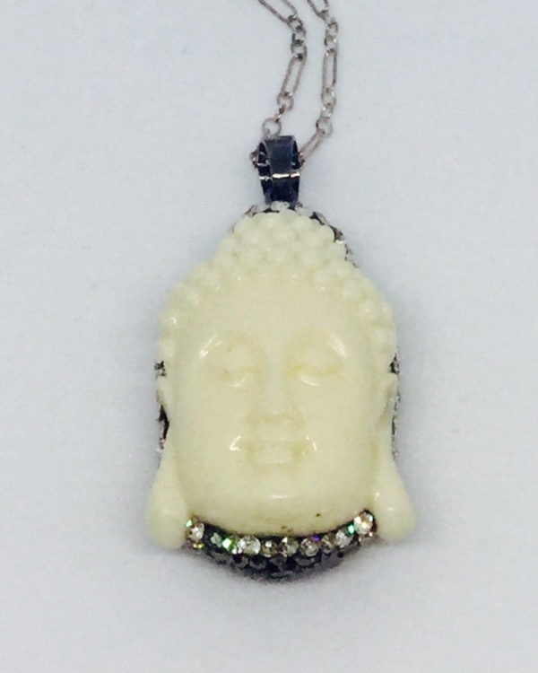 White Buddah & Pave Crystal Back Necklace - ByLaShanJewelry.com