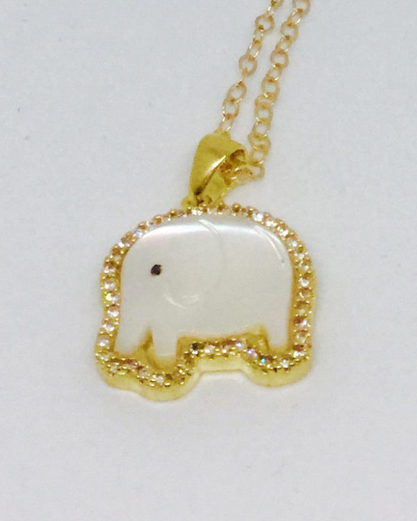 Mother of Pearl & Crystal Elephant Necklace - ByLaShanJewelry.com