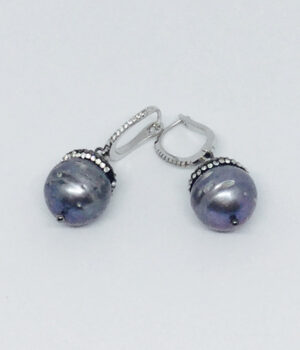 Black Pearl Crystal Drop Earrings - ByLaShanJewelry.com