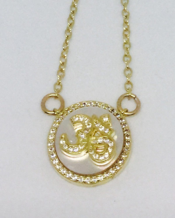 Mother of Pearl & Crystal Om Necklace - ByLaShanJewelry.com