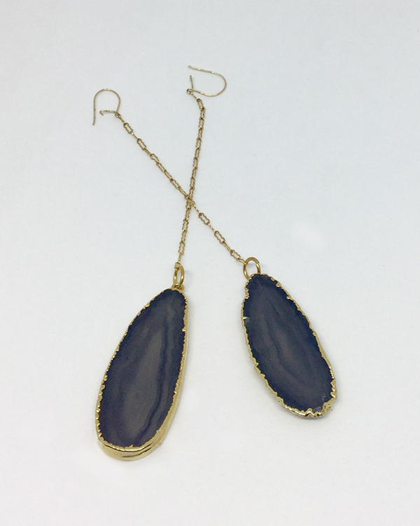 Black Agate Chain Drop Earrings - ByLaShanJewelry.com